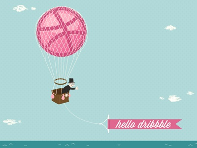 Hello Dribbble illustration debut hello thanks