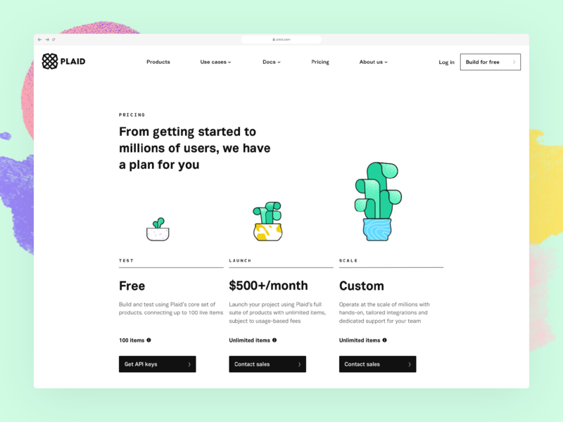 Plaid's new website: Behind the scenes with design web design pricing growth san francisco fintech finance brand evolution plaid