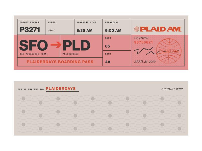 Plaiderdays: Plad Am boarding passes typography graphic design hackathon plaiderdays plaid am slc jfk sfo san francisco illustration plaid
