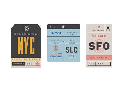 Plaid am checked bag stickers print graphic design tags throwback hackathon plaiderdays plaid am plaid nyc sfo slc checked bags
