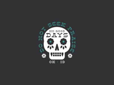 Do Not Seek Praise skull illustration identity floral brand branding logo