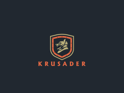 Krusader Mark knight medieval hound helmet illustration concept identity badge brand branding logo