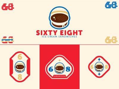 Sixty Eight icecream ice cream badge astronaut logo