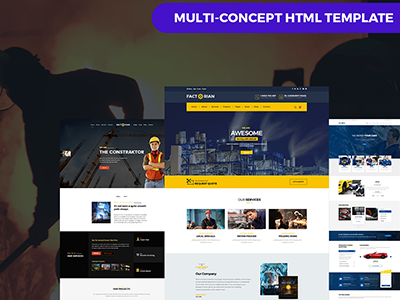 Factory, Construction, Auto Repair, Agency & Transport Template