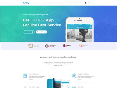 Galaxy - Product, Apps, Agency, Resume/Portfolio Landing Page