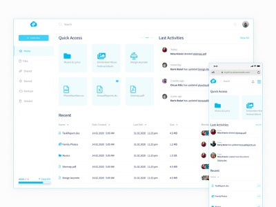 Cloud Drive Dashboard ui ux white minimal clean clay mobile web file cloudapp cloud storage drive