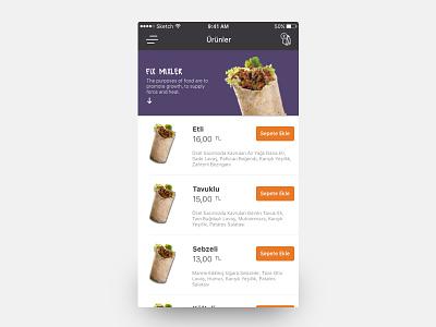 Menu Detail extend dropdown online restaurant order menu flat colors