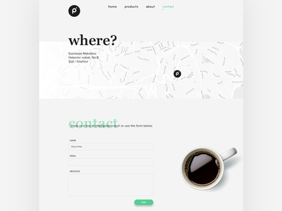 Contact navigation form ux ui web web design flat company map contact