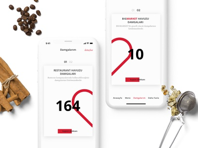 Loyalty Card Design white simple coupon iphone x minimal card food restaurant ux ui clean