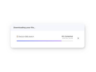 Daily UI #086 - Progress Bar downloading progress bar 086 daily ui