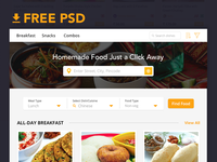 Freebie PSD: Food App Landing page
