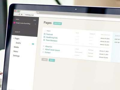 Page, Menu, Search website wood material material design sidebar ui interface content manager cms