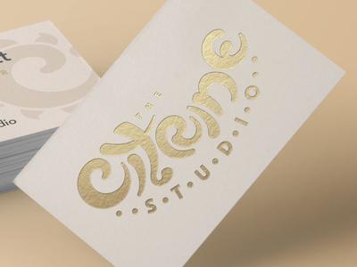 The Citrine Studio warm warm tones branding art nouveau custom typography typography business card businesscard gold foil gold