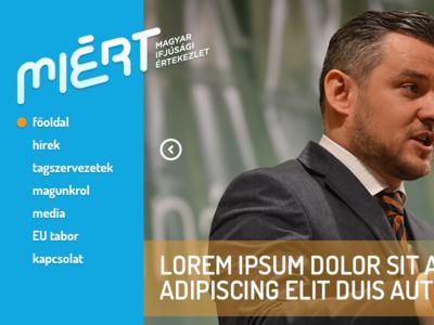 MIERT.ro homepage header political clean vertical navigation
