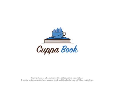 Cuppa Book bookstore coffee shop logo vector illustrator