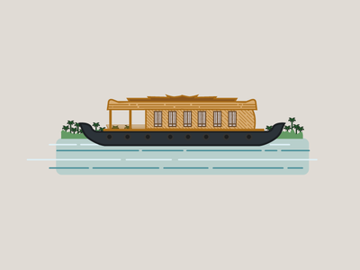 kerala - House Boat kumarakom kerala boat houseboat vector illustrator illustration