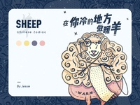 A sheep illustration of the Chinese Zodiac