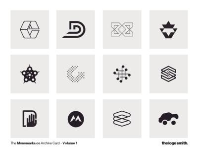 Monomark Archive Card - Volume 1 by The Logo Smith graphic design typography symbols portfolio logo marks logo design monomarks logo icons branding
