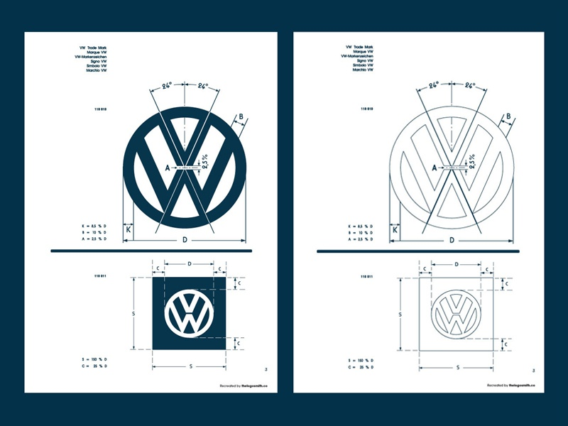 Vintage vw logo specification sheet recreated 2