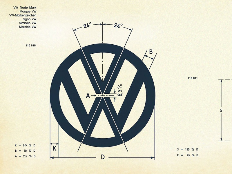 Vintage vw logo specification sheet recreated 3