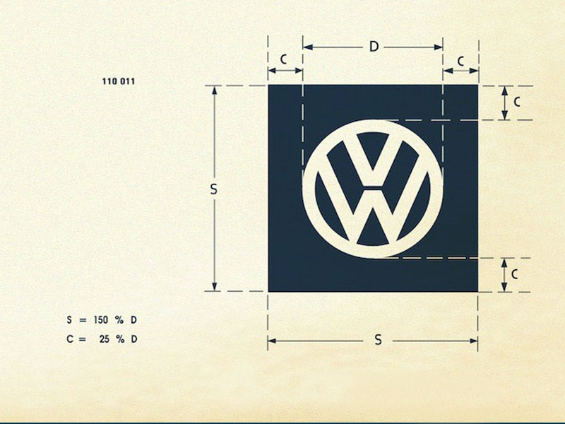 Vintage vw logo specification sheet recreated 5