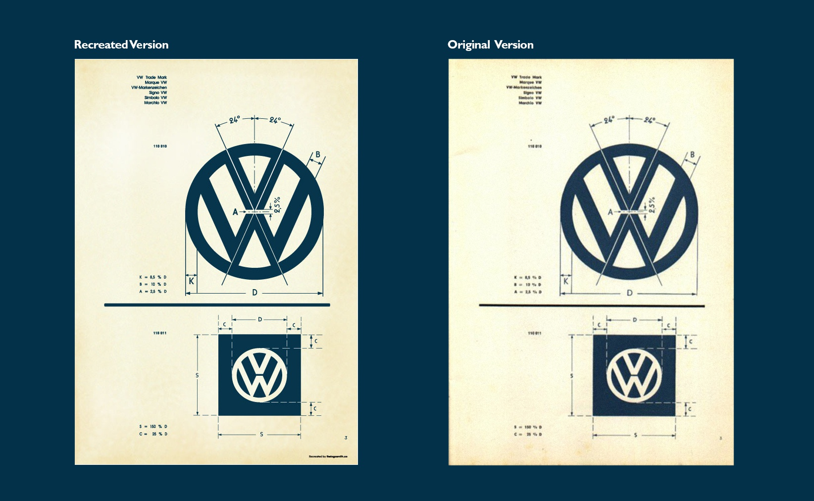 Vintage vw logo specification sheet comparison recreated