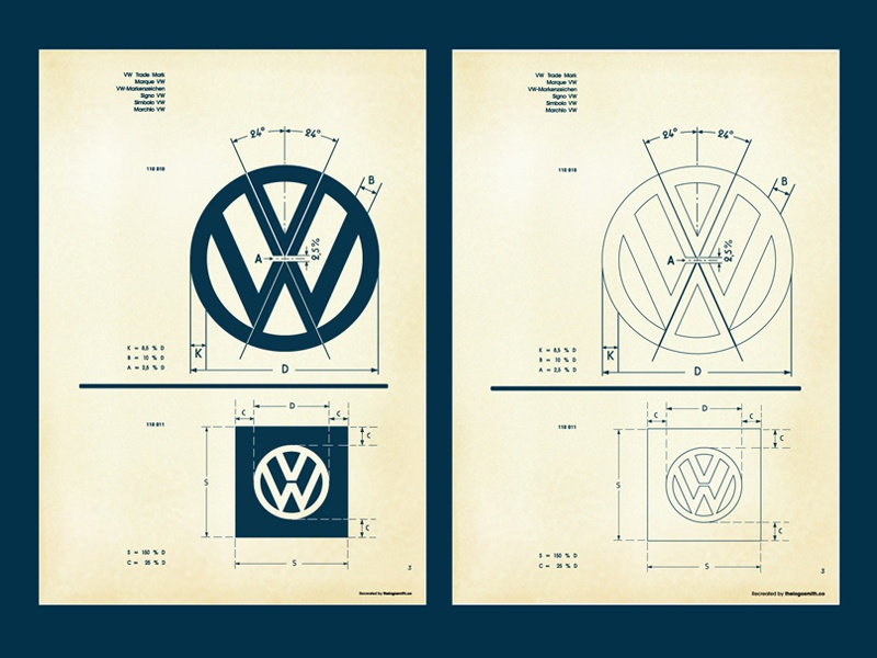 Vintage vw logo specification sheet recreated square 1