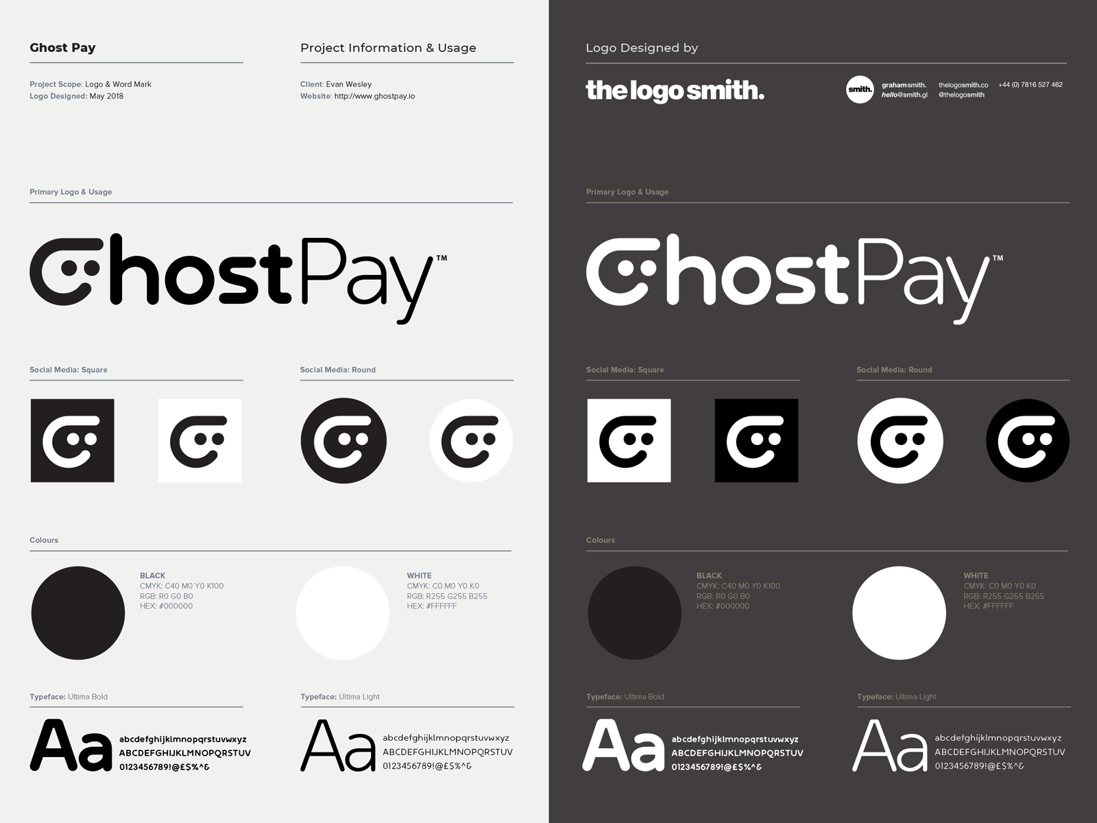 Ghost pay cryptocurrency logo sheet card designed by the logo smith 1 4x