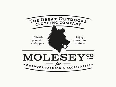 """MoleseyCo: The Great Outdoor Clothing Company"" Logo Design logo design portfolio vintage retro dog"