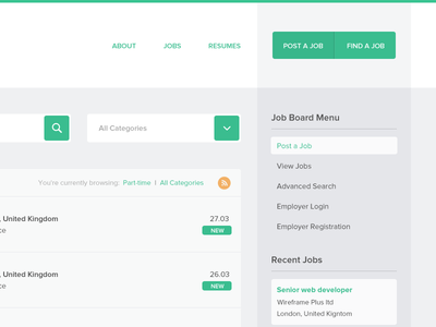 WpJobBoard Plugin Theme job board flat minimal rows drop down