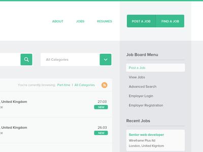 WpJobBoard Plugin Theme job board flat minimal rows drop down