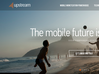 Upstream re-design slider ui design sans serif flat big images