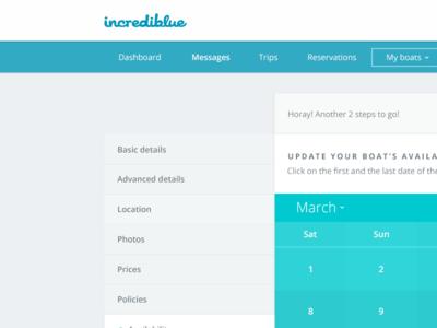 Calendar update for boats calendar tabs dashboard web app progress bar