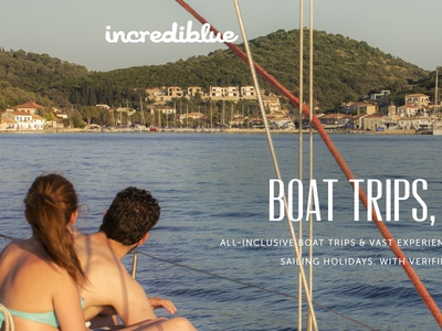 incrediblue landing page  free psd landing page facebook sign up log in full width hero photo slider boats nautical holidays boat trip incrediblue