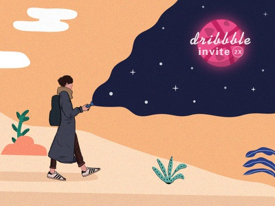 2x Dribbble invites invite,illustration