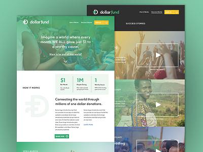 Dollarfund.org Web Mockup video ux web currency charity website wip