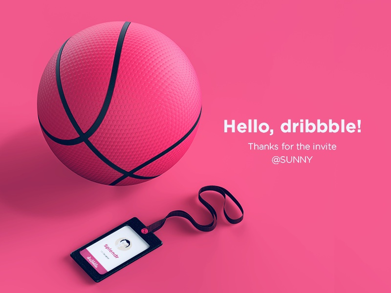 Hello Dribbble render dribbble hello shot first pink admission ball 3d