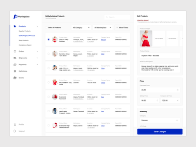 Marketplace Dashboard user experience user interface design aliexpress ebay etsy rakuten amazon product detail growth business product listing supplier product edit marketplace dashboard