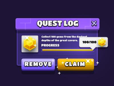 Quest Log Mobile Game UI