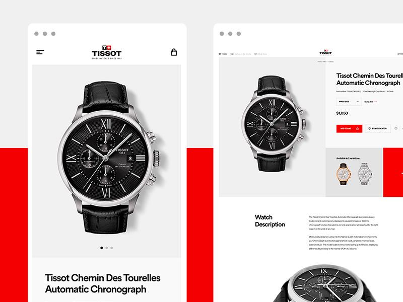 Tissot Watches E-Commerce - PDP agency design digital ecommerce interactive tissot watches watch toyfight ui ux website