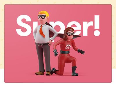 Superheroes & Sidekicks website ux ui toyfight illustration superhero colour color 3d