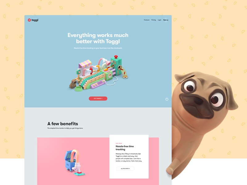 Toggl Homepage responsive website ux ui toyfight animation illustration colour color 3d