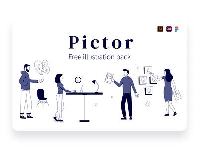 Pictor Free Illustration Pack web illustration digital illustration free illustration office corporate startup graphic design illustration vector ai figma xd freebie