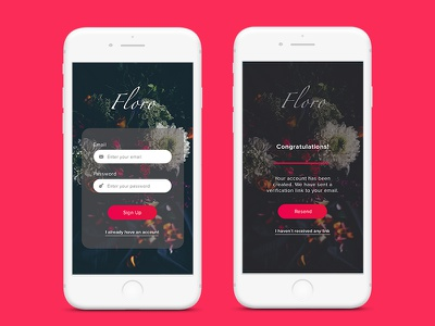 Floro Mobile Sign Up sign up mobile app
