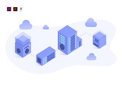 Hosting Web Illustration Dribbble isometric illustration download for free digital illustration web hosting server data vector web illustration freebie