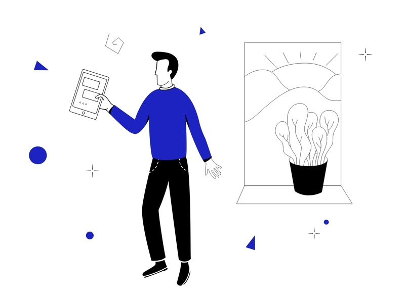 Man with Ipad Start Up Illustration illustration web illustration start up graphic design ai procreate pack freebie startup digitalart vector