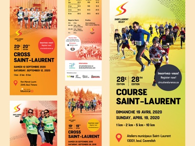 Race promotionnal collateral yellow red promotional design race running branding typography