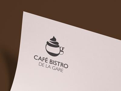 Café de la gare typography minimal vector design coffee shop coffe logo branding