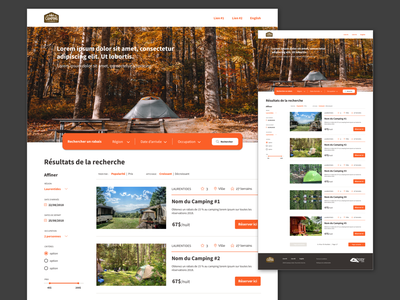 Search mode | Camping website nature camping webdesign website landing page search search bar art direction branding ui design
