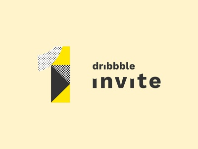 1 invite giveaway dribbble app dribbble dribbblers yellow typography giveaway invitation bitmap texture 1 invite